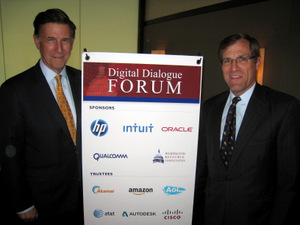 Rep. Beyer (left) is welcomed on his innaugural DDF visit by DDF Sponsor Mark Tomb, HP