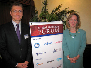 DDF Sponsor Franck Journoud, Oracle, welcomes Rep. Comstock on her first DDF visit