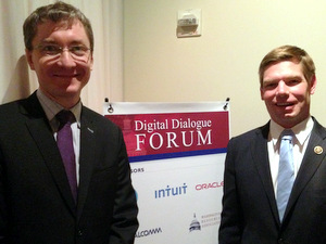 Rep. Swalwell (right) is welcomed by DDF Sponsor Franck Journoud, Oracle