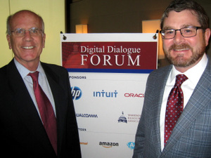 Vermont Native and DDF Sponsor Chris Long, Washington Resource Associates, welcomes Rep. Welch (left) on his first visit with the Forum