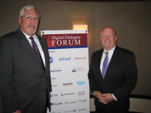 DDF Sponsor Randy Dove, HP, greets Rep. Brady (right) on his return to DDF